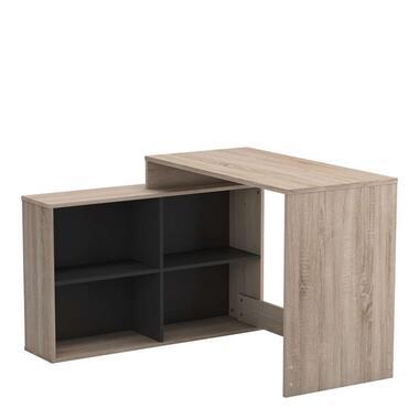 Demeyere bureau Corner - donker eikenkleur - 76,7x111,9x100,7 cm - Leen Bakker