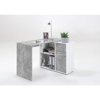 Hoekbureau Albrecht - betonkleur/wit - 117x74x83 cm