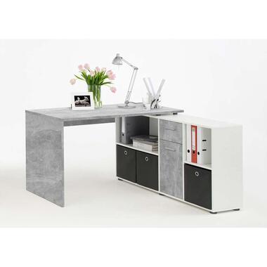 Hoekbureau Lex - betonkleur/wit - 136x68x75 cm - Leen Bakker