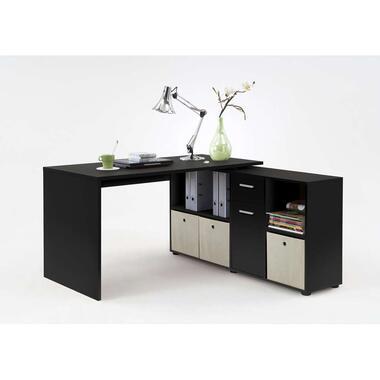 Hoekbureau Lex - zwart - 136x68x75 cm - Leen Bakker