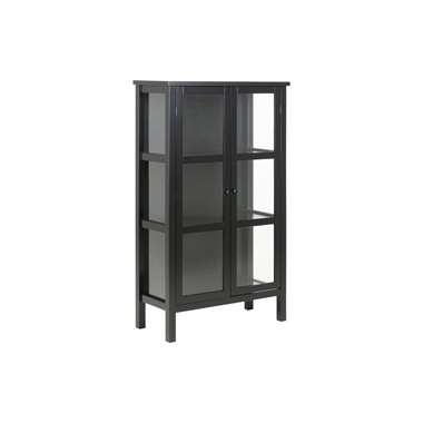 Vitrinekast Liza - zwart - 136,5x80x35,5 cm - Leen Bakker