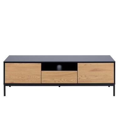 TV-meubel Avola - zwart/eiken - 45x140x40 cm - Leen Bakker