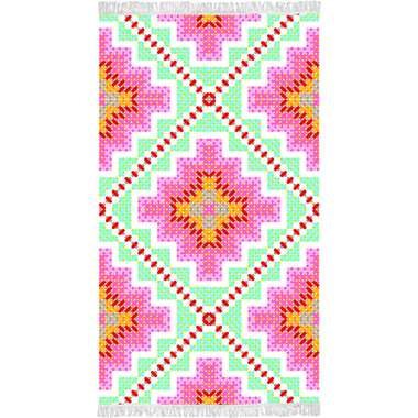 Happiness strandlaken Zopohia - multikleur - 100x180 cm - Leen Bakker