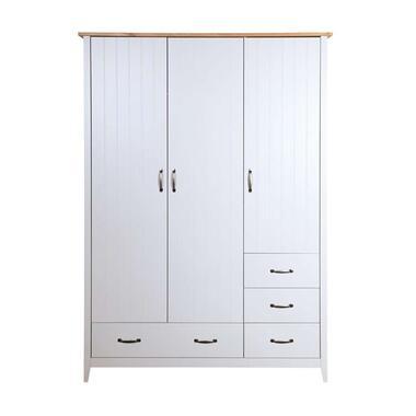Kledingkast Norfolk 3-deurs - grijs - 192x142x56 cm - Leen Bakker