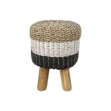 HSM Collection kruk Malibu - raffia zeegras - naturel wit zwart - 45 cm