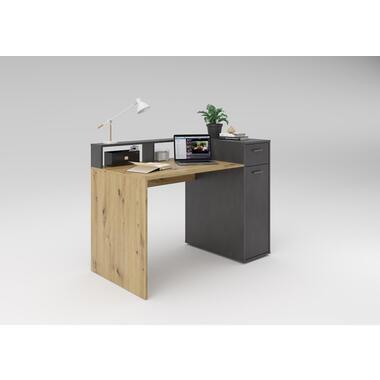 Bureau Celle - eiken/grijs - 90x120x65 cm - Leen Bakker