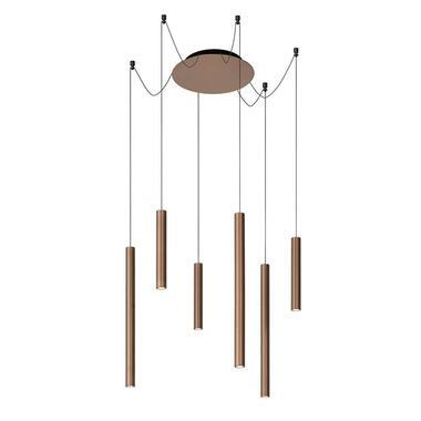 Lucide hanglamp Lorenx 6-lamp - roestbruin - Leen Bakker