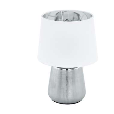 EGLO tafellamp Manalba - zilverkleurig/wit - Leen Bakker