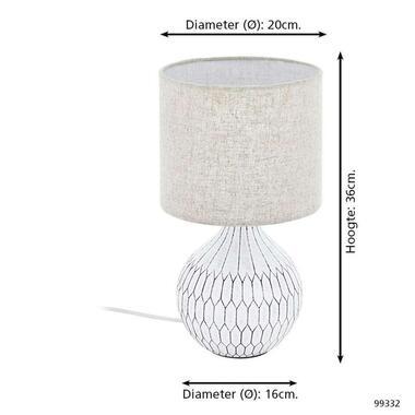 EGLO tafellamp Bellariva - wit/bruin - Leen Bakker
