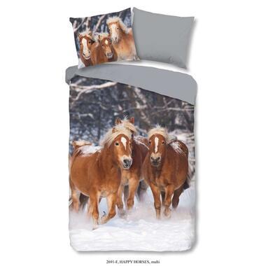 Good Morning kinderdekbedovertrek Flanel Happy Horses - multikleur - 140x200 cm - Leen Bakker