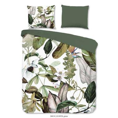 Good Morning dekbedovertrek Flanel Leaves - groen - 140x200/220 cm - Leen Bakker