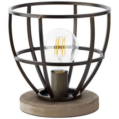 Brilliant tafellamp Matrix - zwart - hout/staal - Leen Bakker