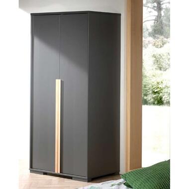 Vipack 2-deurs kledingkast Londen - antraciet - 195.2x98.4x56 cm