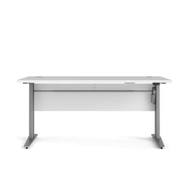Bureau zit/sta Calvin - wit/grijs - 150 cm - Leen Bakker