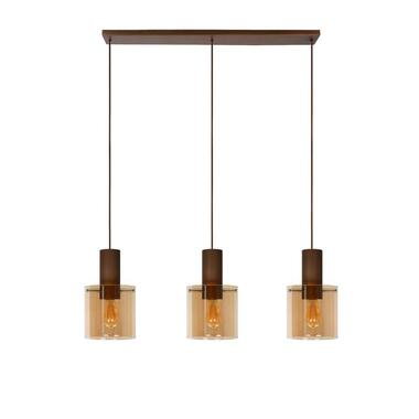 Lucide hanglamp Toledo 3 lichts - amber - Ø20 cm - Leen Bakker