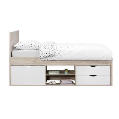 Bed Tempo incl. bedverhoger - eikenkleur - 90x200 cm - Leen Bakker