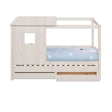 Bed Ties met bedverhoger en opzetdak - whitewash - 90x200 cm - Leen Bakker