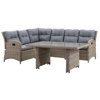 Le Sud verstelbare loungeset Verona hoge tafel - grijs - 3-delig - Leen Bakker