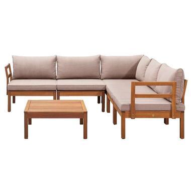 Le Sud modulaire loungeset Orleans V2 - taupe - 6-delig - Leen Bakker