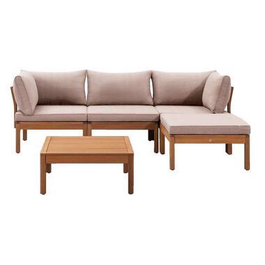 Le Sud modulaire loungeset Orleans V1 - taupe - 5-delig - Leen Bakker