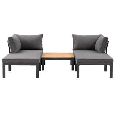 Le Sud modulaire loungeset Ardeche V2 - grijs - 5-delig - Leen Bakker
