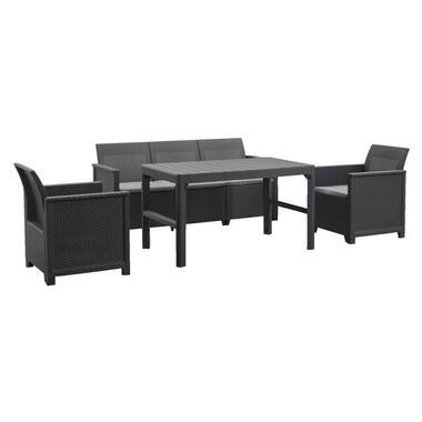Keter loungeset Emma verstelbare tafel Lyon - grijs - 4-delig - Leen Bakker