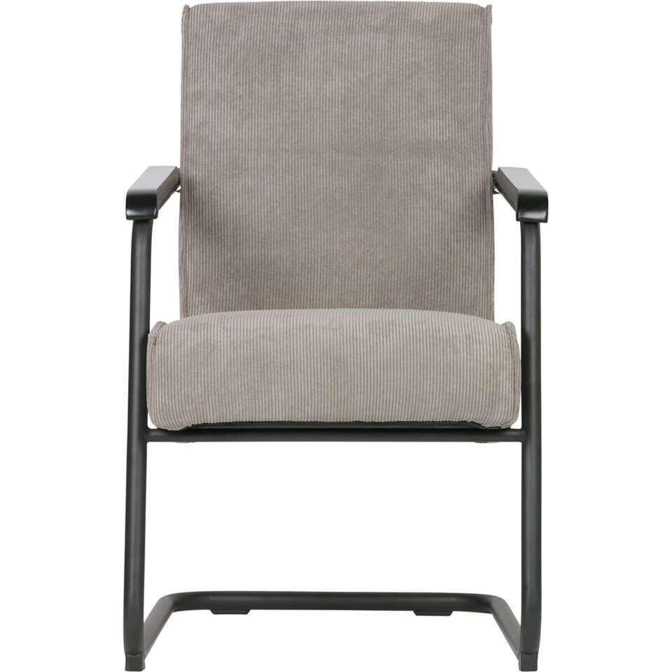 Woood fauteuil Micha – ribstof – vergrijsd groen – Leen Bakker
