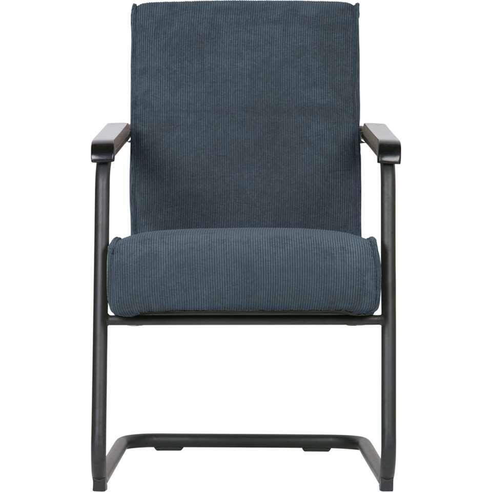 Woood fauteuil Micha - ribstof - staalblauw - Leen Bakker