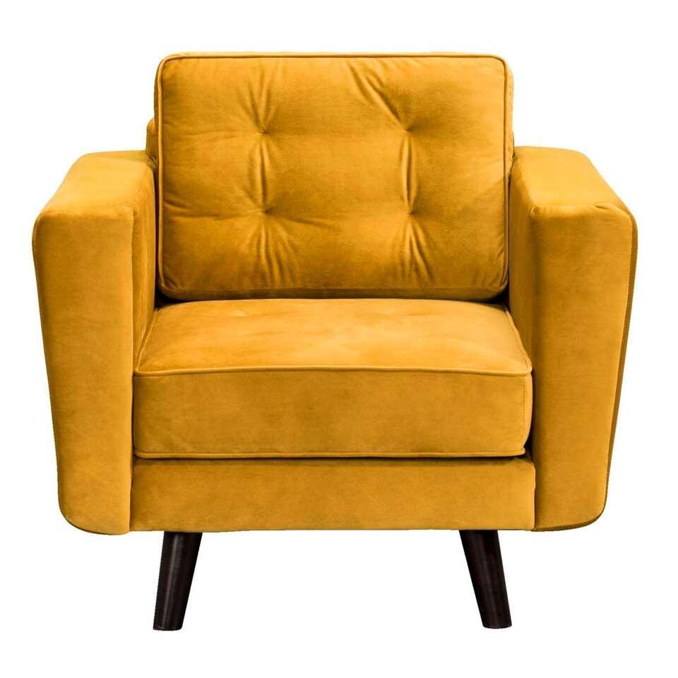 Fauteuil Bristol - stof - geel - Leen Bakker