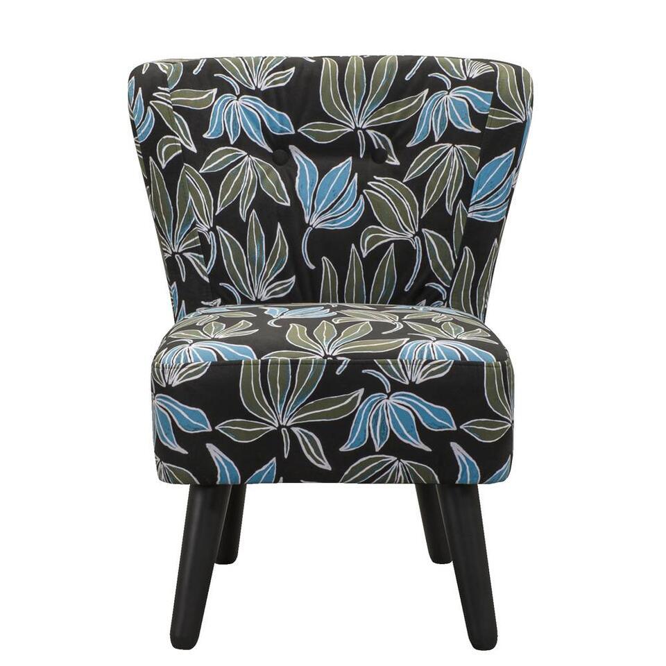 LEEN x Mariska fauteuil Halmstad - stof Leaves - groen/blauw - Leen Bakker