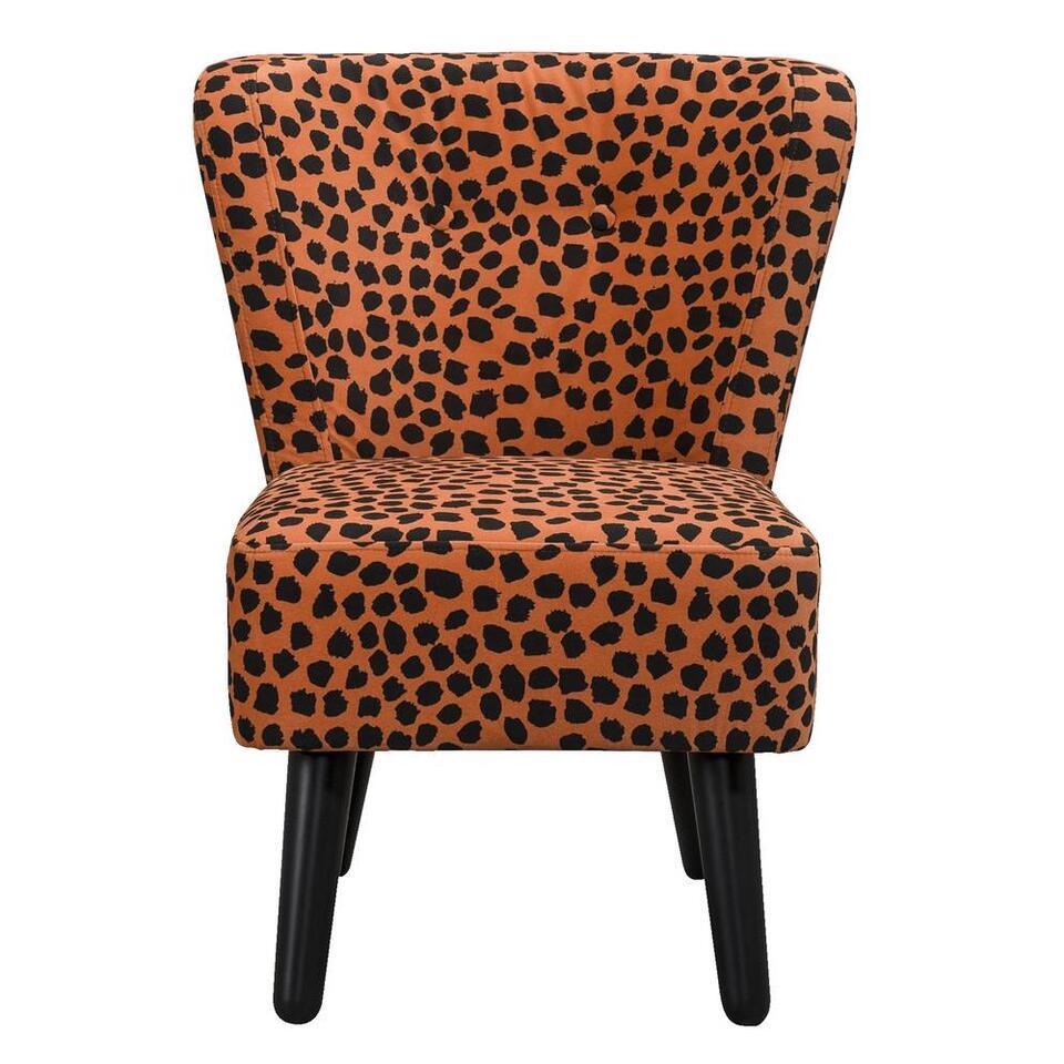 LEEN x Mariska fauteuil Halmstad - stof Luipaard - oranje