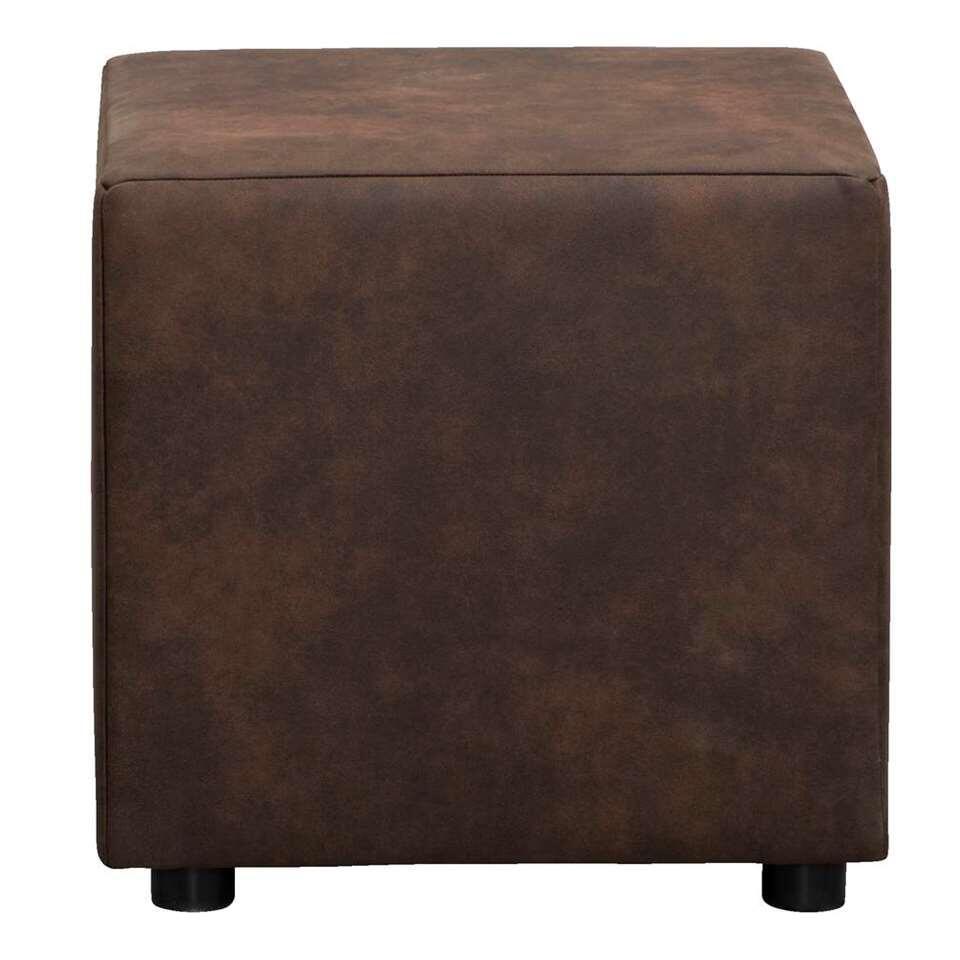 Hocker Nando – donkerbruin – stof Preston – 46x46x46 cm – Leen Bakker