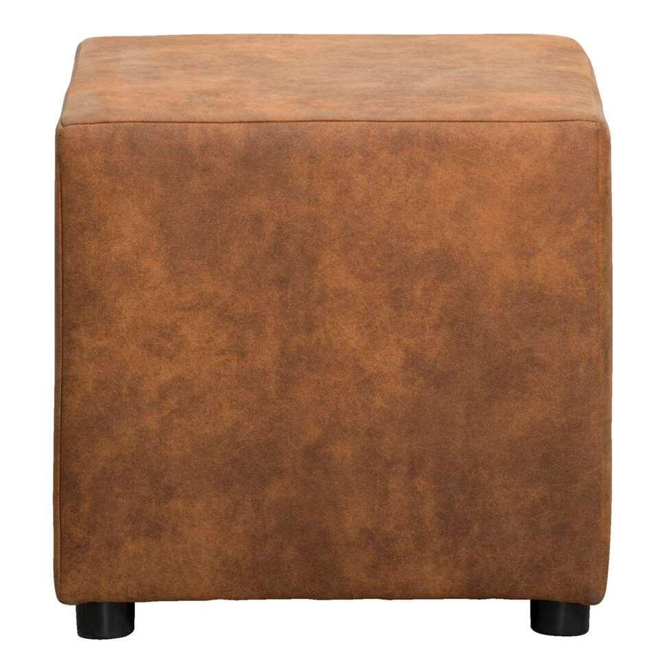 Hocker Nando – cognac – stof Preston – 46x46x46 cm – Leen Bakker
