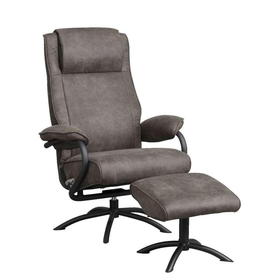 Relaxfauteuil Vic incl. hocker - antraciet