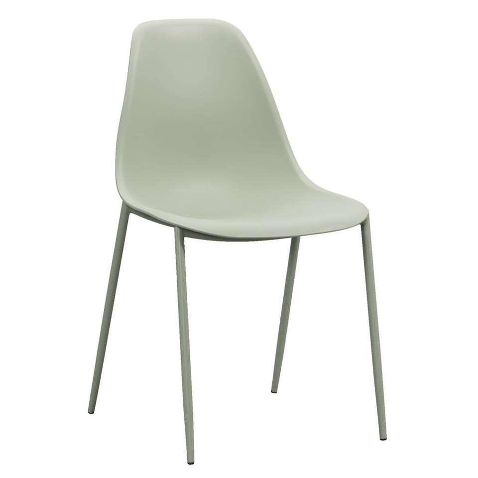 Chaise de salle à manger Lund - plastique - verte (le lot de 4 pièces)