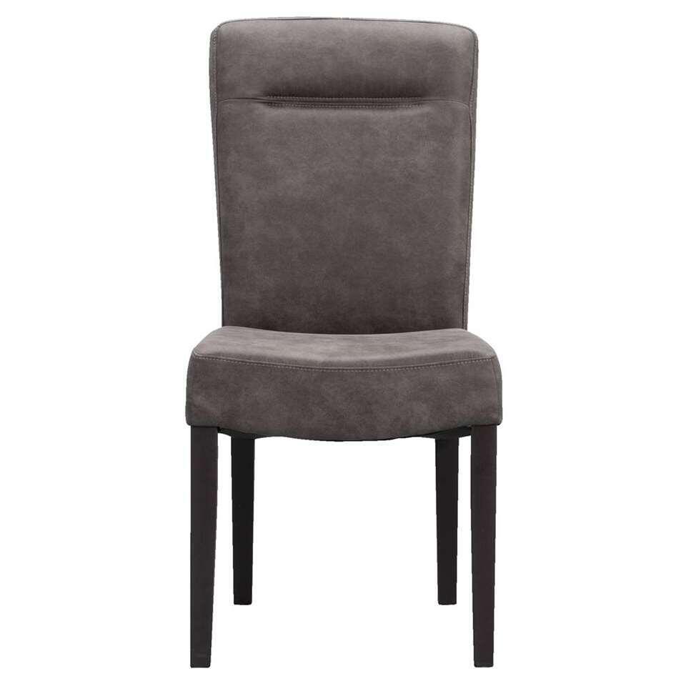 Chaise de salle à manger Yvo - aspect cuir - anthracite
