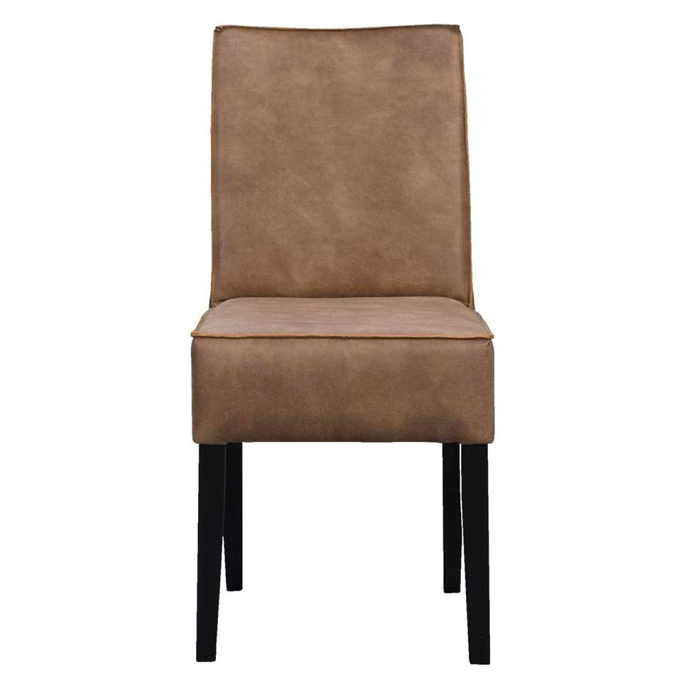 Chaise de salle à manger Casey - micro-cuir taupe - 93x46x68 cm