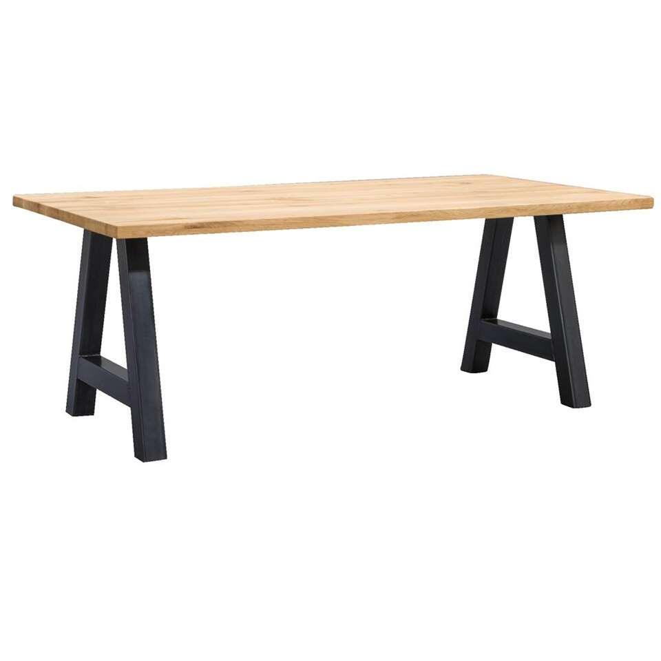 Table de salle à manger Houston pieds A - 75x160x90 cm - chêne/noir