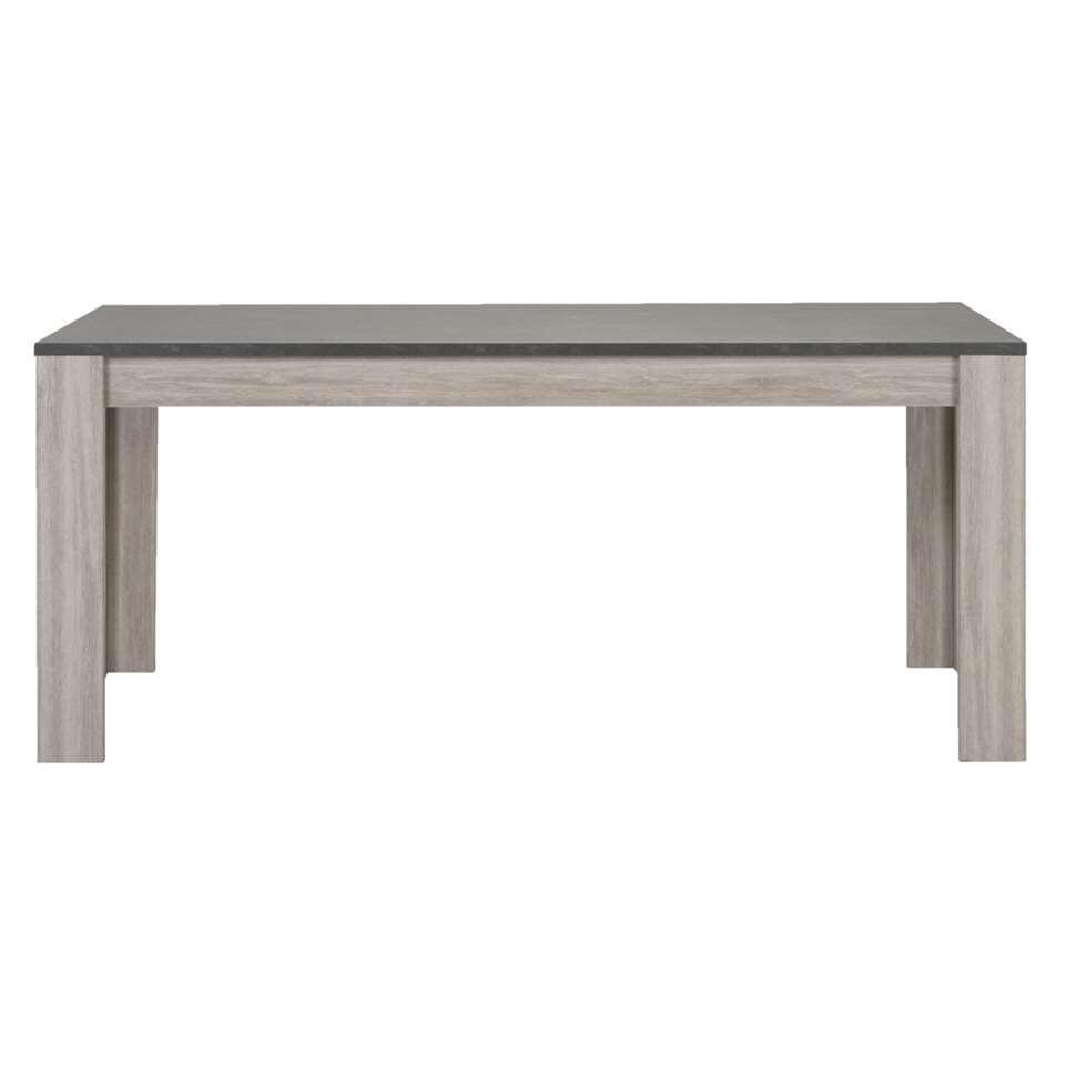 Eetkamertafel Yannick - grijs eiken/natuursteenlook - 79x180x90 cm - Leen Bakker