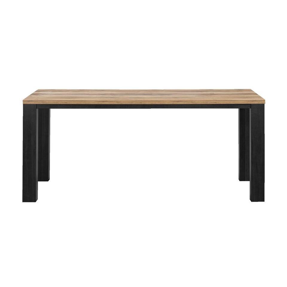 Eetkamertafel Luc - antraciet/eikenkleur - 77x159x90 cm