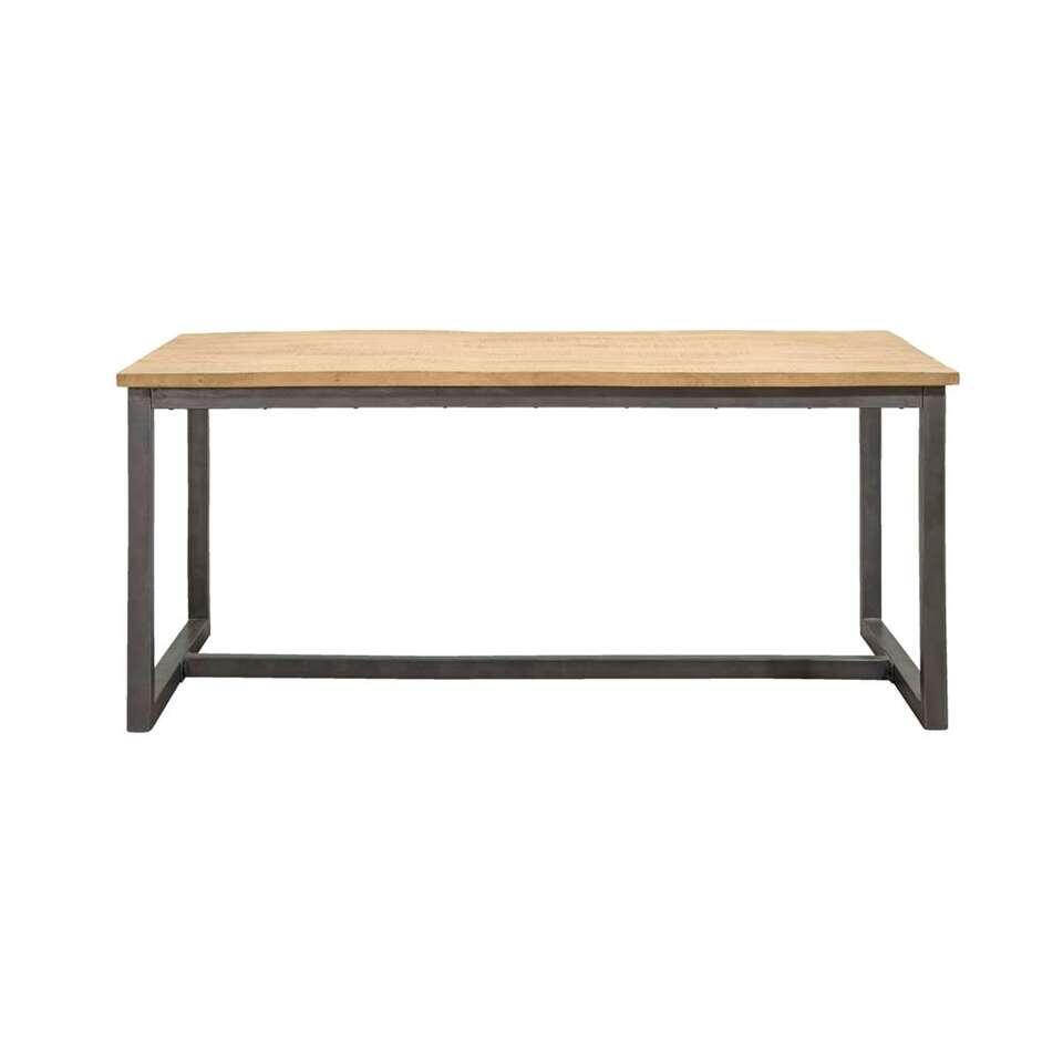 Eetkamertafel Logan - naturel/grijs - 78x180x100 cm - Leen Bakker