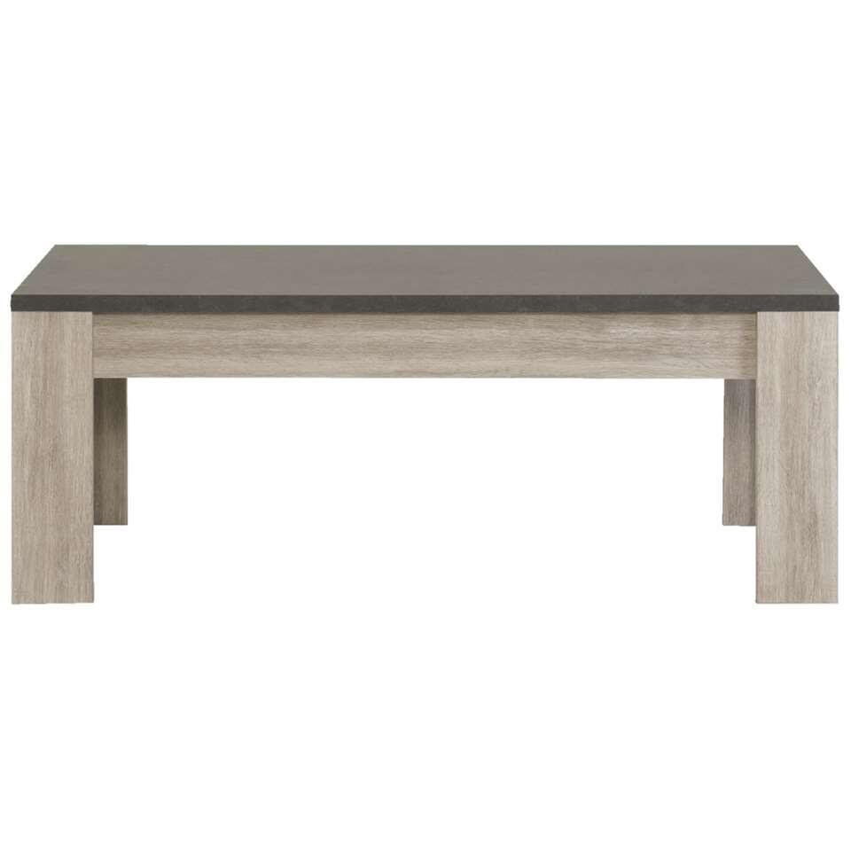 Salontafel Yannick - grijs eiken/natuursteen - 45x140x68 cm - Leen Bakker