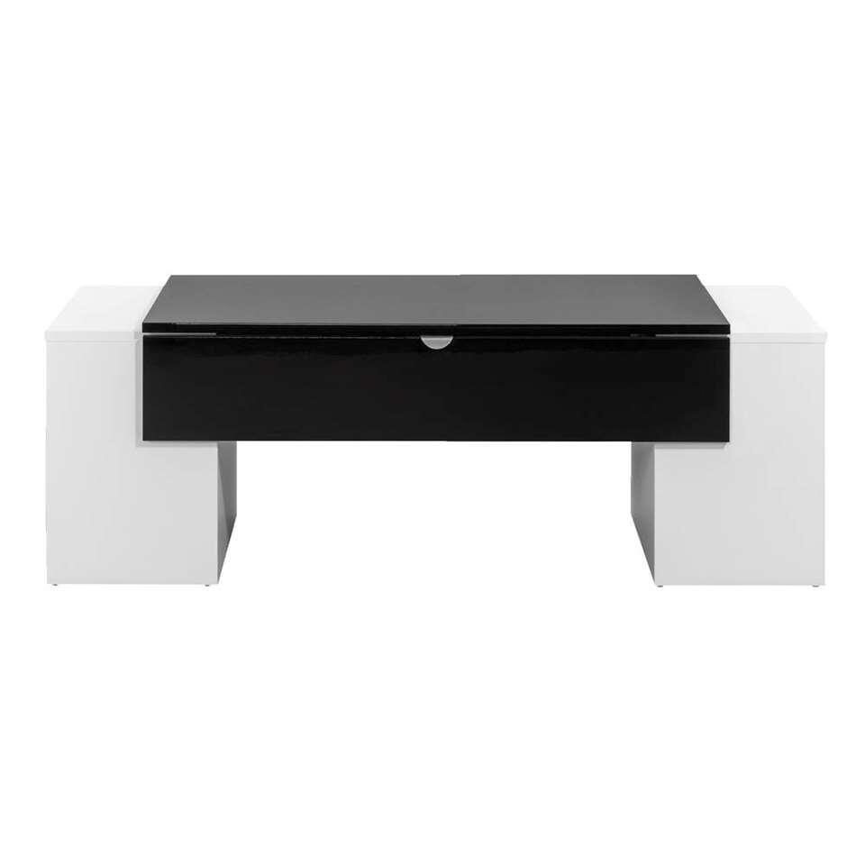 Salontafel Nice - hoogglans wit/zwart - 42x123x55 cm - Leen Bakker