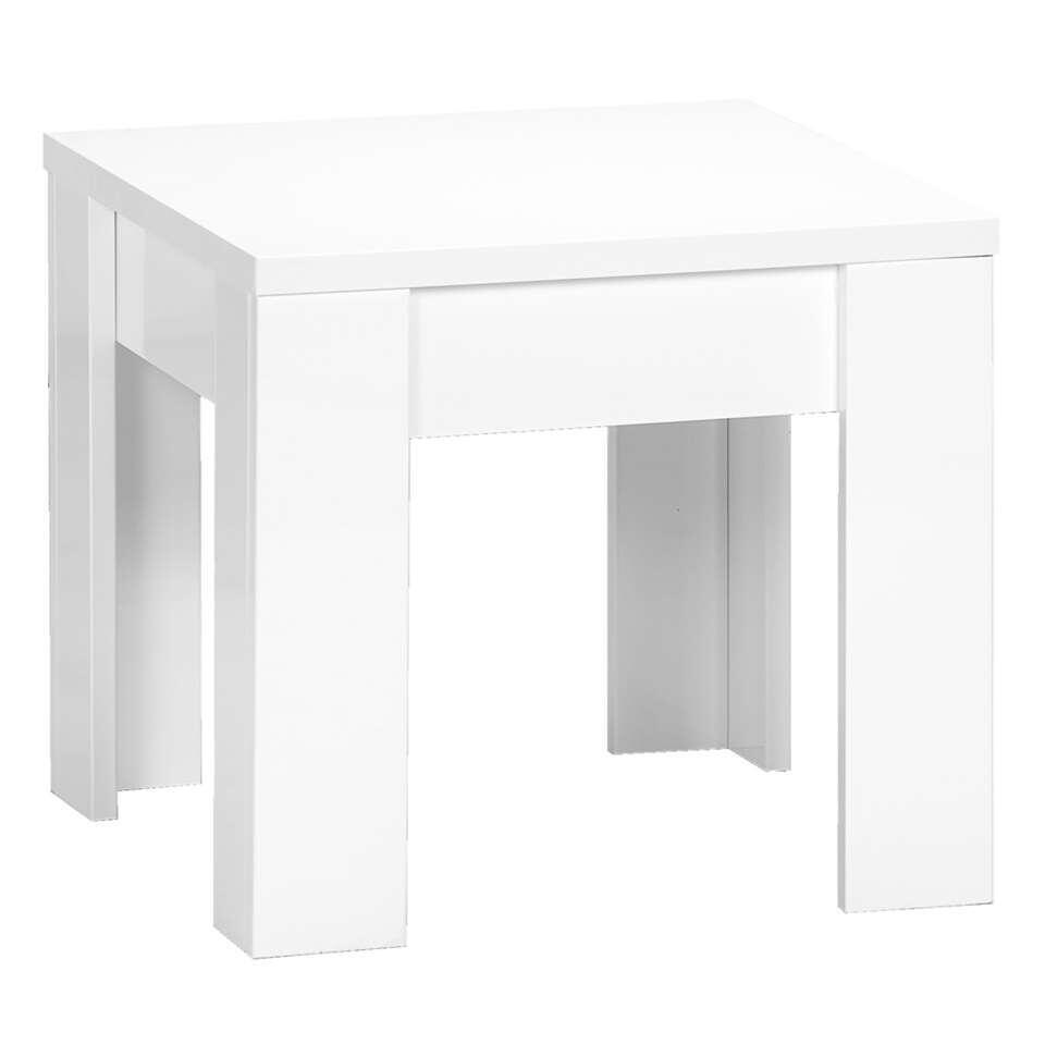 Bijzettafel Amalfi - hoogglans wit - 45x50x50 cm - Leen Bakker