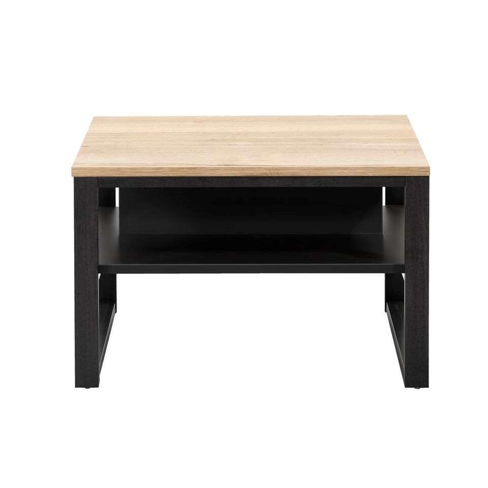 Bijzettafel Malaga - eikenkleur/zwart - 44x67x67 cm