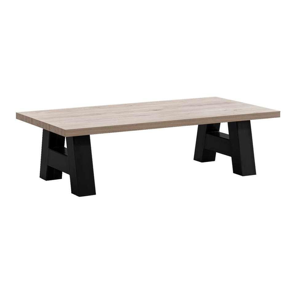 Table de salon Timon pieds A - gris couleur chêne - 38x135x67,5 cm