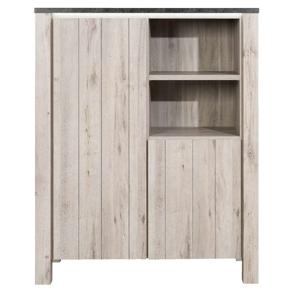 Kast Jens incl. verlichting - grijs eiken - 150x118x50 cm - Leen Bakker