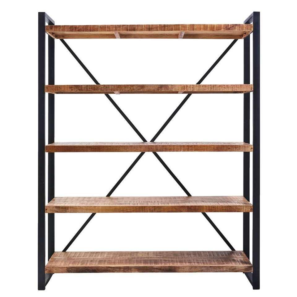Boekenkast Scott - 5 planken - metaal/hout - 180x120x40 cm