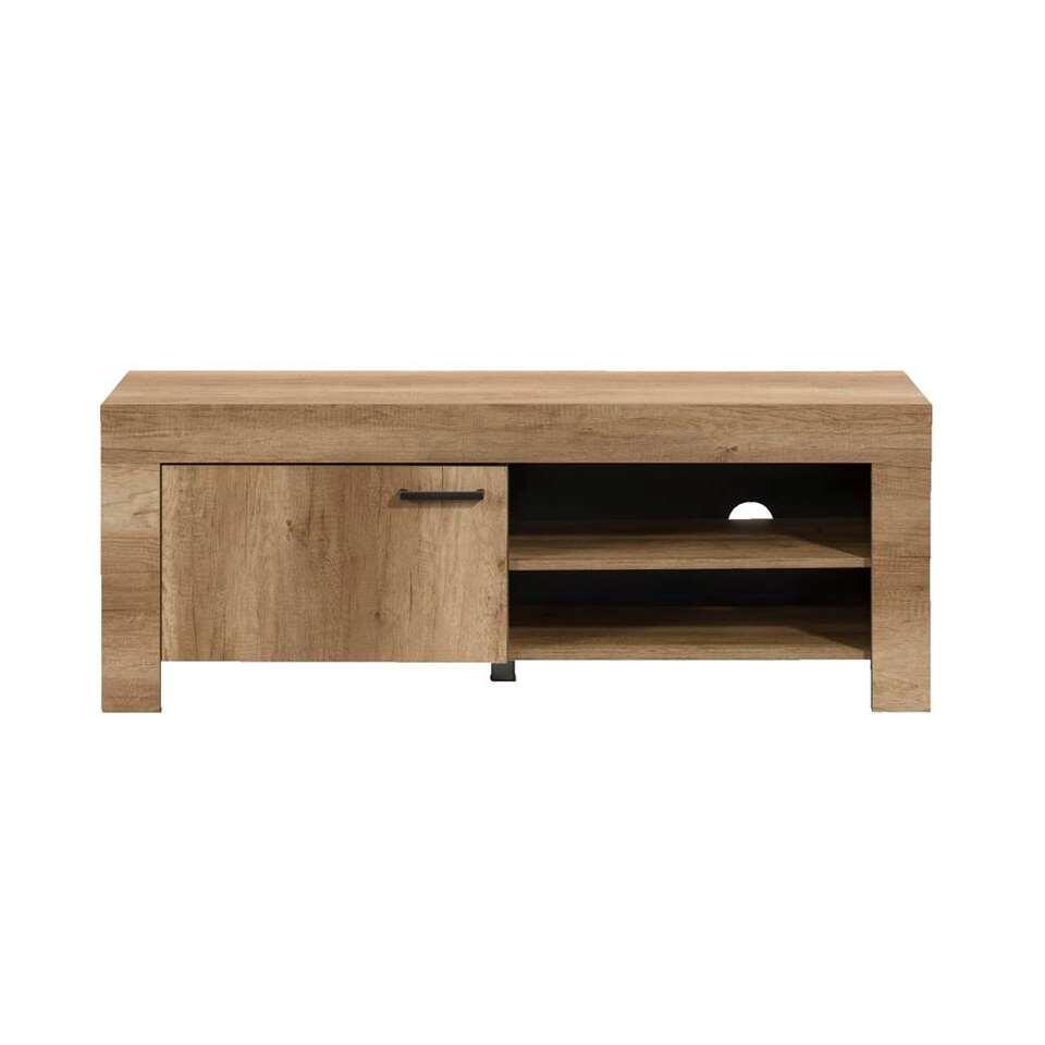 Tv-meubel Lidia heeft een landelijke uitstraling. Het tv-meubel heeft een stijlvolle eikenkleur en biedt genoeg opbergruimte voor een digitale tv-ontvanger, een dvd-speler en dvd's.