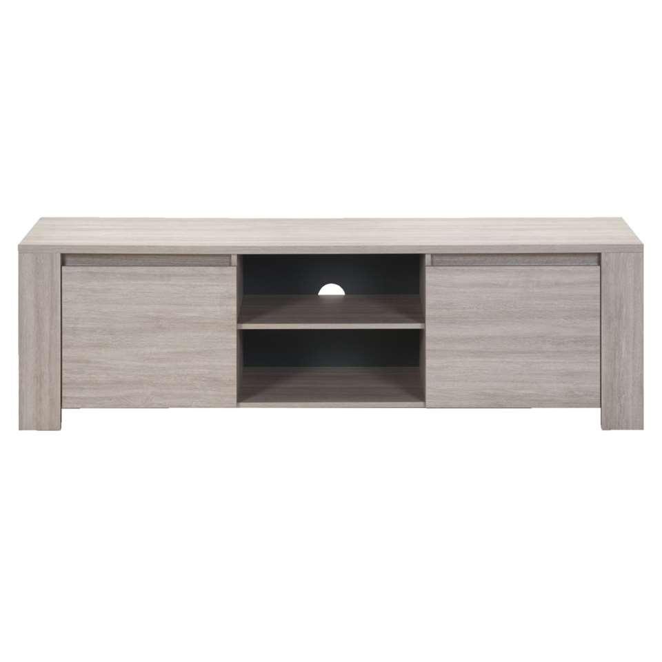 TV-meubel Yannick - grijs eikenkleur - 51x181x51 cm - Leen Bakker